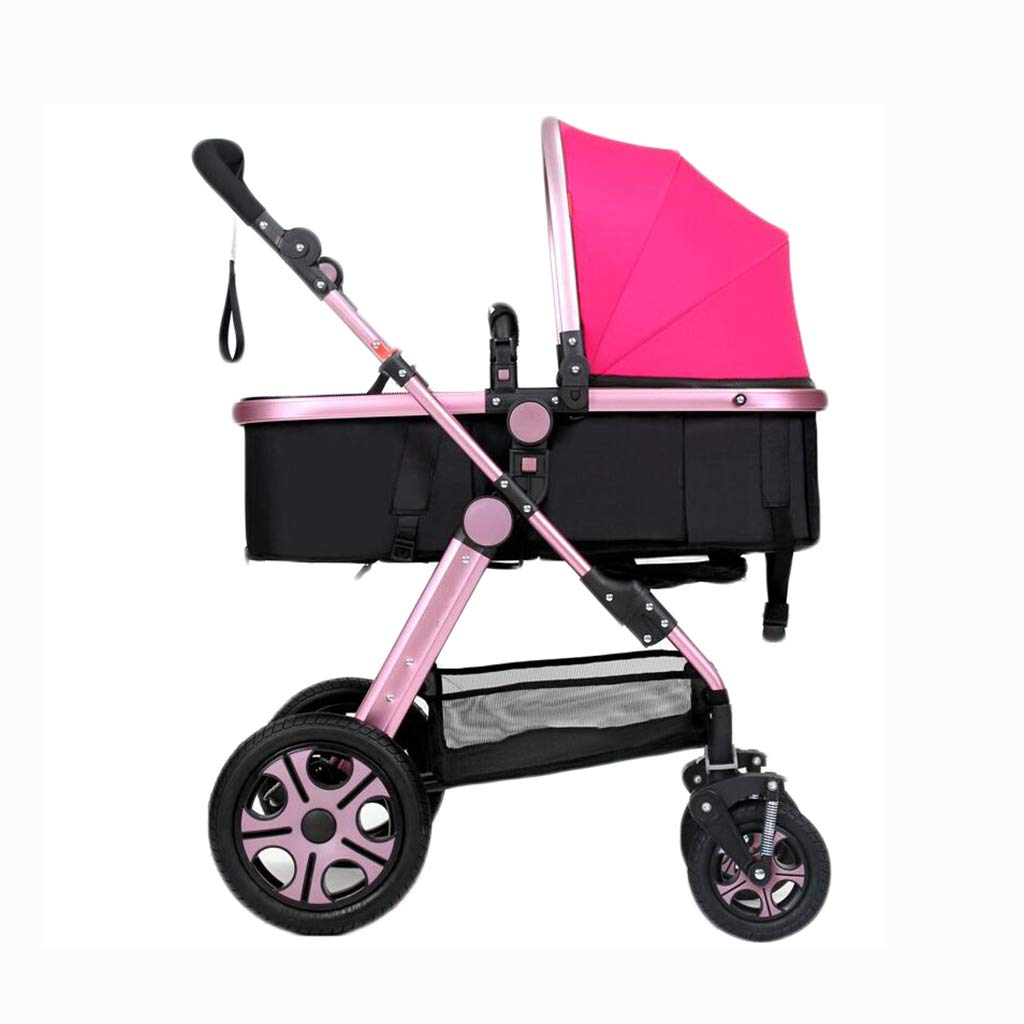 PLDDY Standard 3-in-1 Stroller High Landscape Seated Horizontal Umbrella Portable Folding Bidirectional 4-Wheel Shock Absorber Newborn Four Seasons Universal Travel Shade Optional 4 Colors