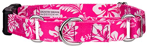 Country Brook Petz | Pink Hawaiian Martingale with Deluxe Buckle - Large