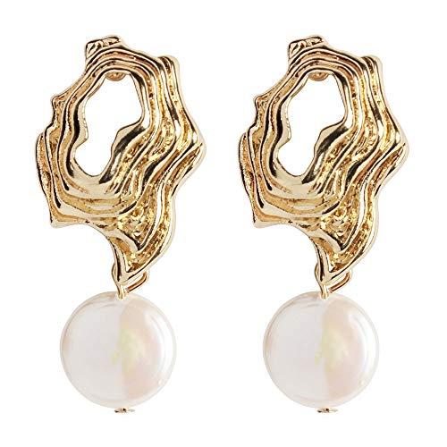SHUNHAO Tortoise Shell Earrings Accent Ocean Seashell Vacation leisureSea Drop Dangle Earrings (Gold Earrings & White Pearl)
