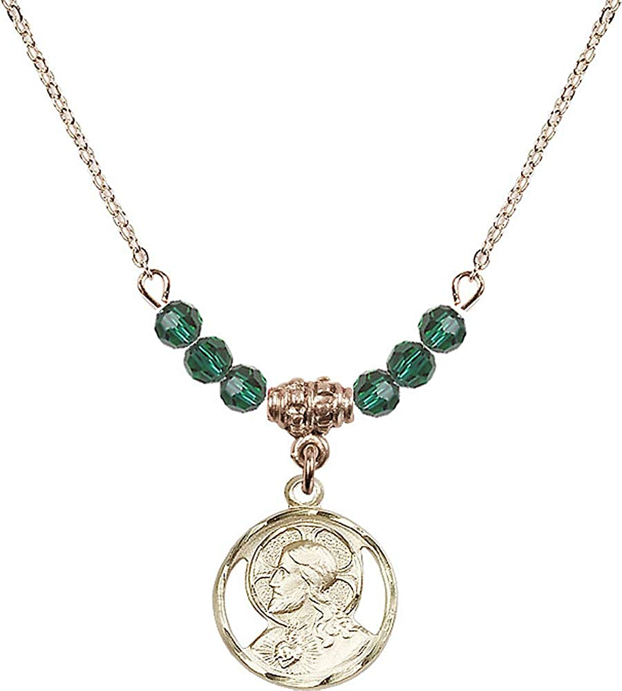 Green Emerald May Birthstone 18-Inch Hamilton Gold Plated Necklace with 4mm Emerald Birthstone Beads and Scapular Charm