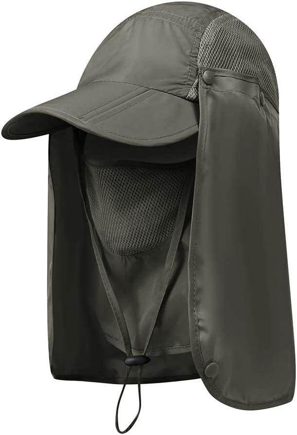 Bebliss Outdoor Flap Caps Schnelltrocknend 360 Grad Sonnenschutz UV-Schutz Packbar Faltbare Gesichtsmaske Ohr Nackenschutz Sportbekleidung Zubeh/ör f/ür den Au/ßenbereich
