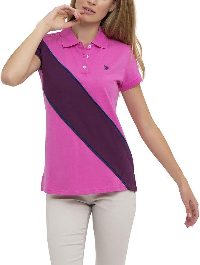 U.S. Polo Assn. Womens Color Block Prep Sash Pique Polo Shirt ...