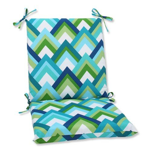 Pillow Perfect Outdoor Resort Peacock Squared Corners Chair Cushion, Blue