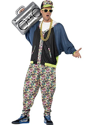 Smiffy's Men's 80's Hip Hop Costume, Jacket, pants and Hat