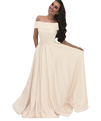 Geshun Women\'s Off The Shoulder Prom Dresses With Pocket Long Satin ...