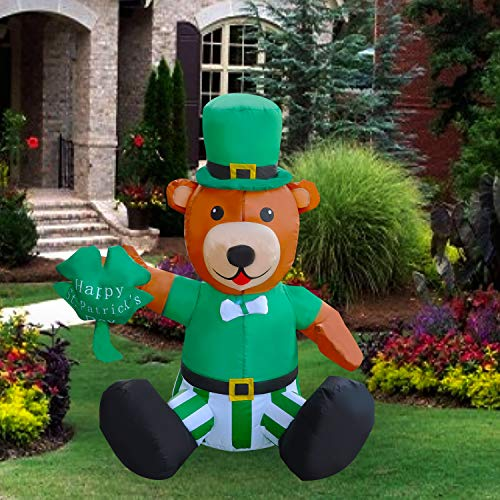 SEASONBLOW 4 Ft LED Light Up Inflatable St. Patrick's Day Bear Holding a Shamrock Decoration for Home Yard Lawn Garden Indoor Outdoor from SEASONBLOW