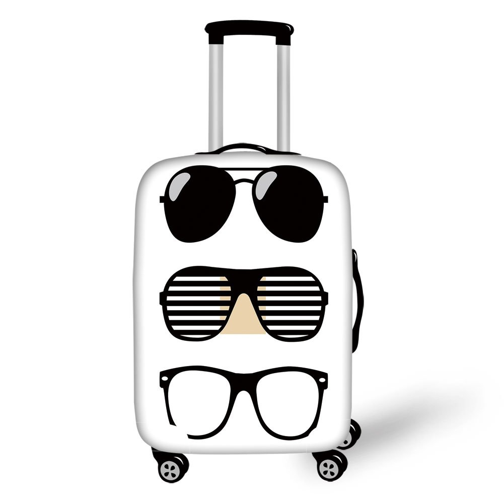 Travel Luggage Cover Suitcase Protector,Indie,Set of Stylized Old Fashioned Sunglasses Summer Accessories Hipster Vintage Decorative,Black and White,for Travel