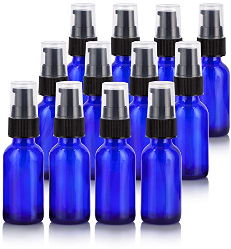 1 oz Cobalt Blue Glass Boston Round Treatment Pump Bottle (12 Pack) + Funnel for Essential Oils, Aromatherapy, Food Grade, bpa Free Cobalt Blue Glass Pump
