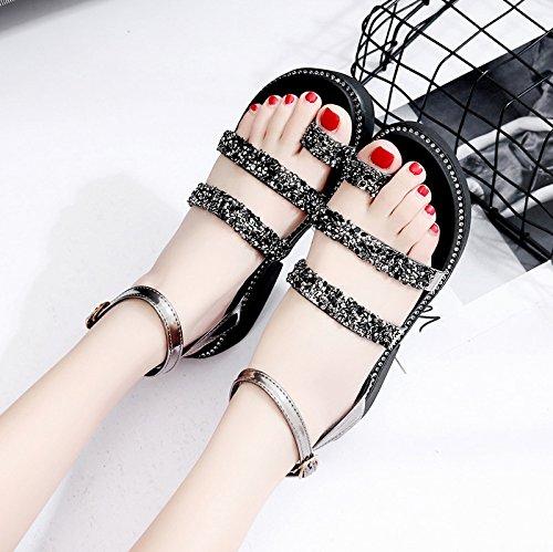 RUGAI-UE Sandalias de suela gruesa mujer zapatos verano pendiente Black
