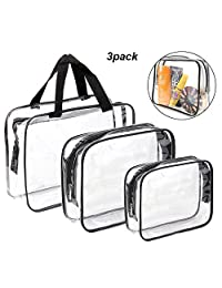 3 Pcs Clear Travel Toiletry Bag TSA Approved with Zipper Airport Airline Compliant Bag