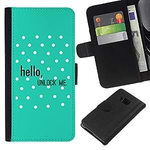 EJOY---La carpeta del tirón la caja de cuero de alta calidad de la PU Caso protector / HTC One M9 / --Hola Desbloquear Lunares Verde texto