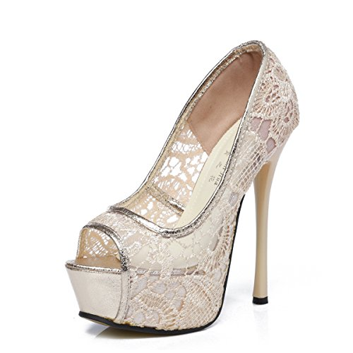 GATUXUS Lace Open Toe Women Platform High Heel Shoes Party Prom Pumps (7 B(M) US, Beige) (Sexy Pink Lace Stiletto Heel)
