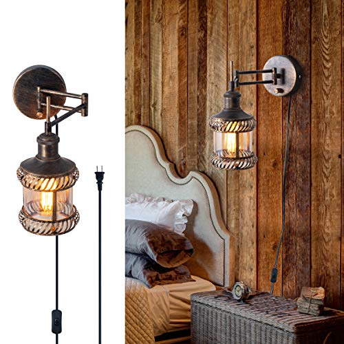 Swing Arm Wall Lamp, 2-in-1 360 Angle Adjustable Industrial Rustic Wall Sconces with Plug in Hardwired ON/Off Switch Glass Shade Retro Iron Wall Light Fixtures for Bedside Bedroom Bathroom Living Room