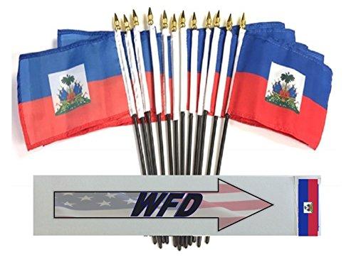 "PACK of 12 4""x6"" Haiti Miniature Desk & Table Flags, 1 Dozen 4""x 6"" Haitian Small Mini Stick Flags"