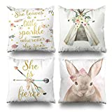 Kutita Set Of 4 Decorativepillows 18 x 18 inch Throw Pillow Covers,Boho Leaves Sparkle Goes Tribal Floral Teepee Stay Wild Child Fierce Arrow Double-sided Decorative Home Decor Pillowcase