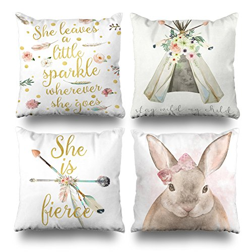 Kutita Set of 4 Decorativepillows 18 x 18 inch Throw Pillow Covers,Boho Leaves Sparkle Goes Tribal Floral Teepee Stay Wild Child Fierce Arrow Double-Sided Decorative Home Decor - Pillow Baby Decorative Bedding