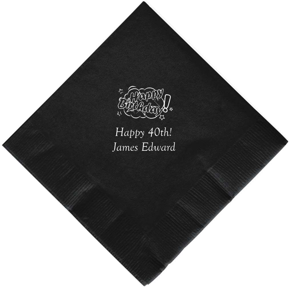 Personalized Cocktail, Beverage or Dessert Birthday Napkins (100)