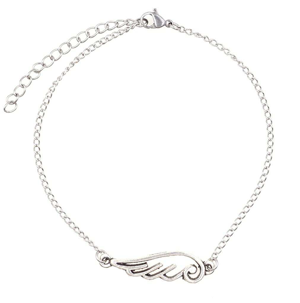 "It's All About...You! 7.5"" - 9.5"" Stainless Steel Ankle Bracelet with Alloy Angel Wing Link 53C It's All About You Jewelry"