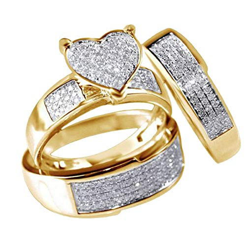 3Pcs Couple Luxury Jewelry Yellow Gold Filled Heart White Sapphire Wedding Ring Valentine's Festival CZ Diamond - Gold Jewelry Ring 14kt Sapphire