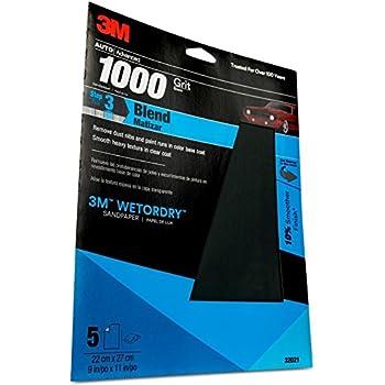 3M Wetordry Sandpaper, 32021, 1000 grit, 9 in x 11 in, 5 sheets per pack