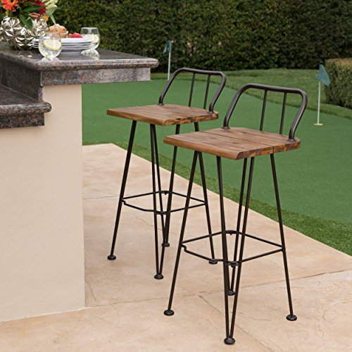 Christopher Knight Home 303449 Denali Outdoor Bar Set Teak Finish Rustic Metal
