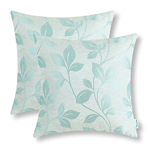 Pack of 2 CaliTime Soft Throw Pillow Covers Cases for Couch Sofa Home Decor, Cute Growing Leaves, 18 X 18 Inches, Duck Egg