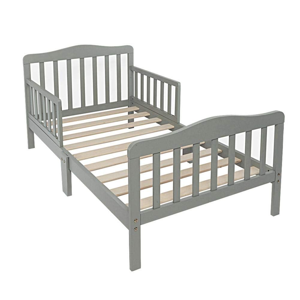 Toddler Bed, Ryokozashi Wood Kids Bedframe Children Classic Sleeping Bedroom Furniture, Safety Rail Fence (Gray) by Ryokozashi