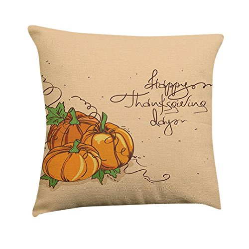 GBSELL Pillow Cover Thanksgiving Turkey Delicious Food Pillow Case Sofa Throw Cushion Cover Home Decor,45cm45cm (E)]()