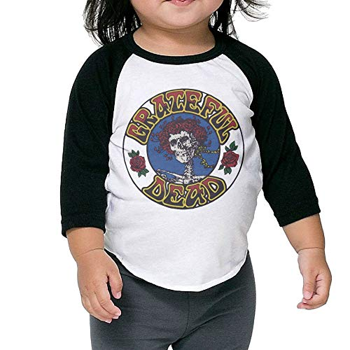 Purpubble Youth Boys&Girls The Grateful Dead Logo Cotton Raglan T-Shirt 3 Toddler 3/4 Sleeve