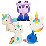 WATINC 5Pcs Kawaii Animal Squishy,Sweet Scented Funny Slow Rising Squishy for Kid Toy, Lovely Toy,Stress Relief Toy,Decorations Toy Gift Fun Unicorn Donut 5p Set