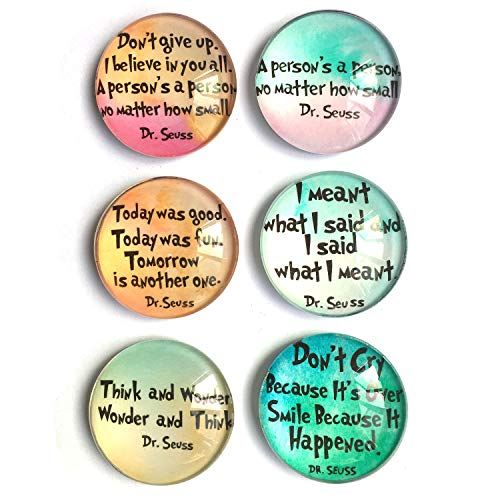 Refrigerator Magnet Set - Dr. Seuss inspirational Refrigerator Magnets, set of six 4x4cm Dr. Seuss gifts for kids, Whiteboard Magnets for classroom or Locker