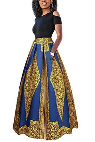 Yacun Las Mujeres Africanas Imprimir Una Linea Larga Coctel Vestido De Dos Piezas Amarillo