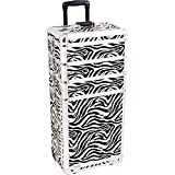 SUNRISE Professional Makeup Case on Wheels 4 in 1 Cosmetic Organizer I3362 Aluminum, 3 Stackable Trays and 4 Drawers, Locking with Mirror, White Zebra