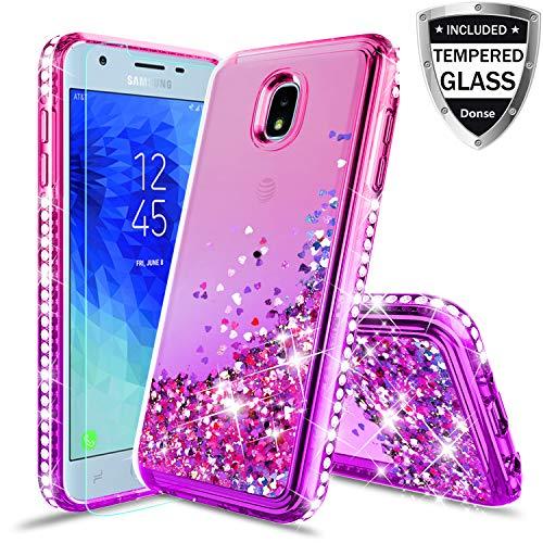 Compatible Samsung Galaxy J3 2018,J3V 3rd Gen,Express Prime 3,J3 Star,J3 Achieve,Amp Prime 3 Case w/Glass Screen Protector,Glitter Liquid Quicksand Diamond Luxury Cover for Girls Women - Watch Diamonds Floating Pink