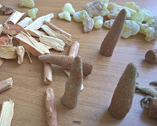 12 Temple Blend Incense Cones - Cedar, Sage & Frankincense - All Natural, Hand Rolled Herbal Incense