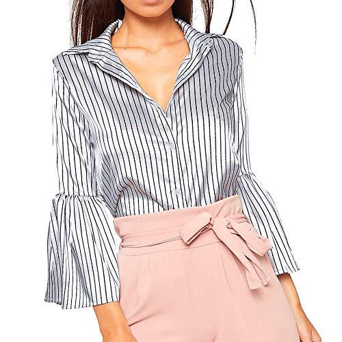 Tank Bodice Striped (TnaIolr Fashion Women Turn-Down Collar Flash Sleeve Striped Casual Top Blouse T-Shirt,2018)