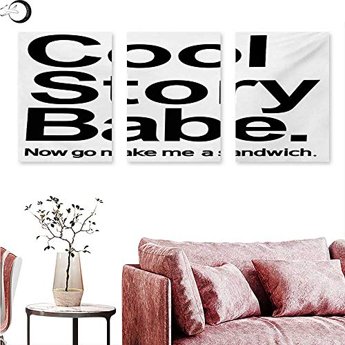 (Anniutwo Quote Abstract Painting Cool Story Babe Now Go Make Me A Sandwich Fun Phrase Sarcastic Slang Image Print Triptych Photo Frame Black and White W 20