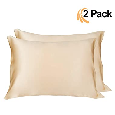 LULUSILK Mulberry Silk Pillowcase for Hair and Skin Queen Size Gold Pillow Cover for Wrinkle Zipper Closure 16 Momme 2pcs