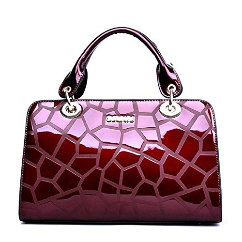 Bolso Rosa hombro elegante elegante de SANSJI de de en mujer elegante elegante bolso mano charol UwnBZdfdRq