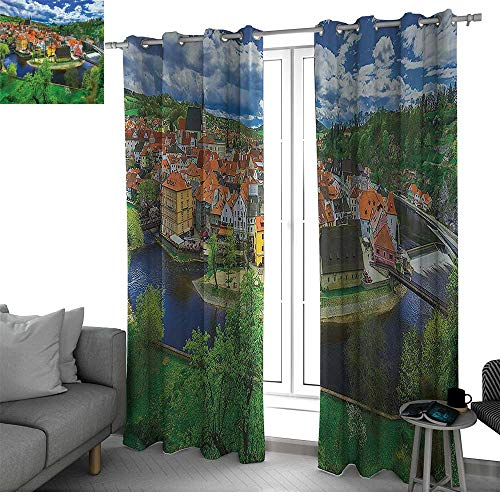 bybyhome Wanderlust Decor Collection Thermal Insulated Blackout Patio Door Curtain Panel Cesky Krumlov Czech Republic Buildings Cathedral Historical Tourist Place Picture Kids Curtain Orange Green