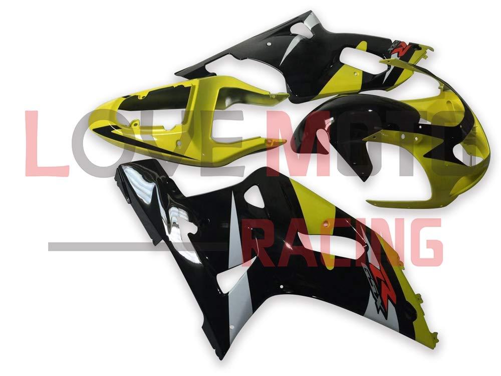 LoveMoto ブルー/イエローフェアリング スズキ suzuki GSX-R600 GSX-R750 2001 2002 2003 01 02 03 ABS射出成型プラスチックオートバイフェアリングセットのキット イエロー ブラック   B07KF7GG99