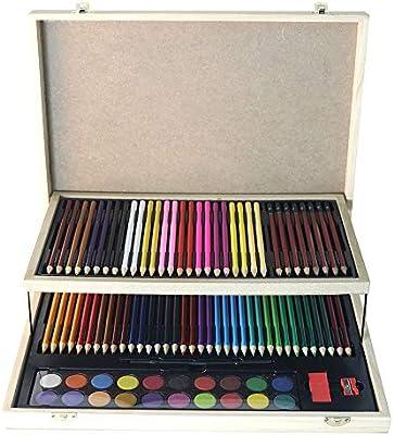 Juegos de pinceles de arte Estuche de madera con estudio de lápiz de acuarela, set de 92 accesorios de creatividad artística para suministros de dibujo Perfecto como regalo para niños y niños.: