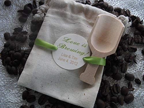 c4dc0399cca1 Amazon.com  Wedding Favor Bags Personalized Coffee Theme With Wood Coffee  Scoop Used For Coffee And Dessert Bar Set Of 10- Item 1012  Handmade