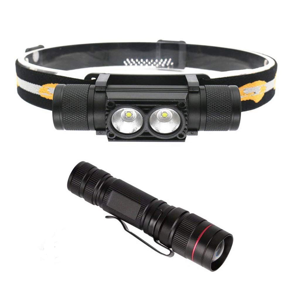Liskan Headlamp Headlight1500Lumen Rechargeable with18650Battery,CREE LED,Flashlight XPE LED,Zoomable,Lightweight USB,2Pices in one pack,Waterproof,Dustproof,Great for Hiking,camping,Running,Worklight by Liskan