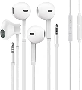 [2 Pack] WEIZY Aux Earbuds/Earphones, Vize 3.5mm Wired Headphones Noise Isolating Earphones Volume Control & Built-in Microphone Compatible with iPhone/Samsung/Android/MP3/MP4