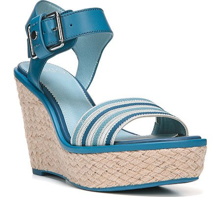 Franco Sarto Womens Carlazzo2 Sandal Blue Elastic Stripe/Vachetta Leather