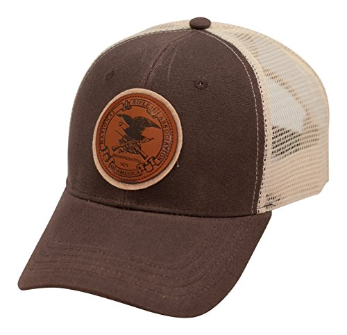 Oilcloth Baseball Cap (NRA Leather Badge Oil Cloth Mesh Back Cap - Officially Licensed)
