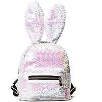 Women Cute Rabbit Ears Backpack Sequins Shoulder Bag Schoolbag Travel Daypack