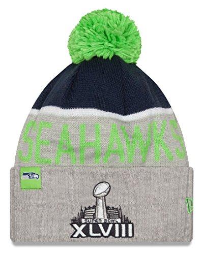 いっぱい再生不測の事態Seattle Seahawks New Era NFL Super Bowl XLVIIIロゴグレースポーツニット帽子