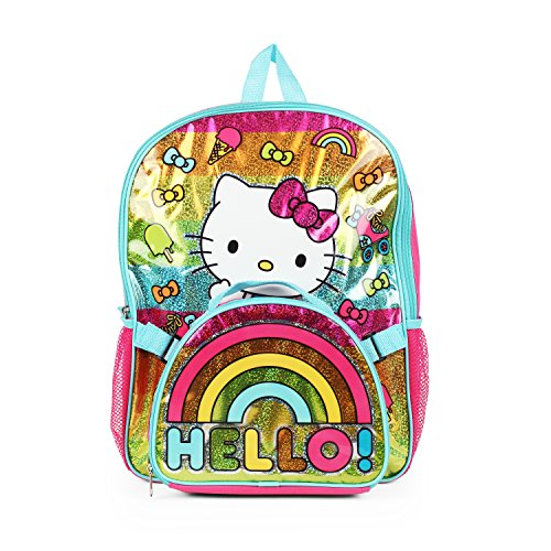 Hello Kitty Rainbow Bow Backpack with Insulated Rainbow Hello! Lunch Kit for Girls -